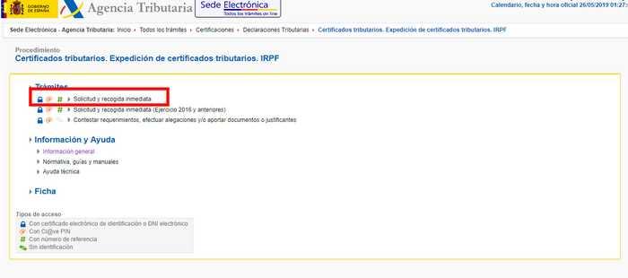 Certificado de retenciones e ingresos a cuenta de IRPF